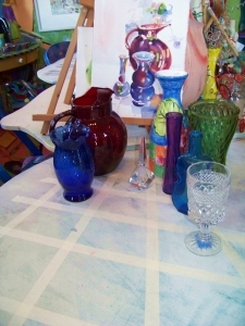 Colorful glass used in painting class at The Left Bank Studio