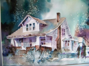Watercolor of Clymer house by Jo Myers-Walker