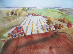 Driving the Bodies Back to Indiana, watercolor painting by Jo Myers-Walker