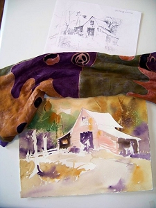 Sketch and watercolor first wash by Jo Myers-Walker