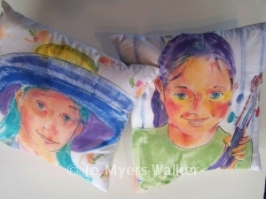 Portrait pillows by Jo Myers-Walker