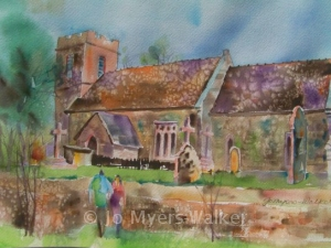 St. Michael's church in Owermoigne, watercolor painting by Jo Myers-Walker