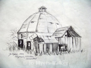 Sketch of round barn by Jo Myers-Walker