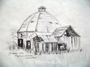 Sketch of round barn by Jo Myers-Walker
