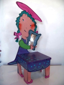 Painted chair for a child, with mirror, by Jo Myers-Walker
