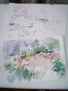Conservatory at Reiman Gardens - composition sketch and wet sketch by Jo Myers-Walker