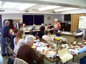 Watercolor workshop at the Hearst Center, Cedar Falls