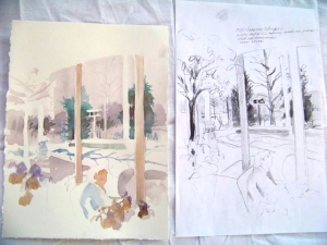 March, viewed through Reiman Gardens windows (watercolor painting in progress)