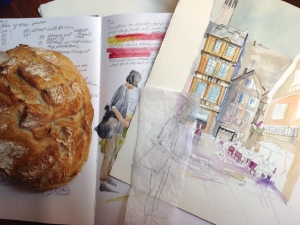 Sketchbook and start of a watercolor painting by Jo Myers-Walker