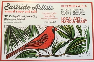 Postcard with artwork of cardinal in tree advertising Eastside Artists show, December 2015