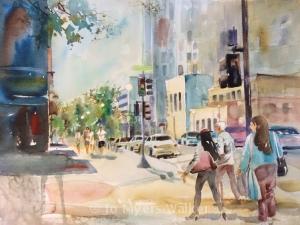 Scene on Linn St. in Iowa City, watercolor painting by Jo Myers-Walker