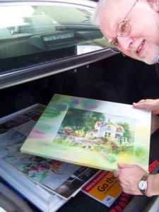 Steve Peters with trunkload of art