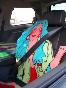 Molly buckled up for safety before going on  tour