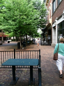 Walking along the Iowa City pedestrian mall