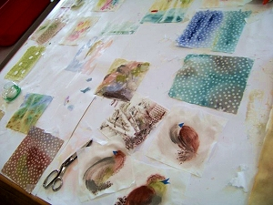 Fabric painting technique samples by Jo Myers-Walker