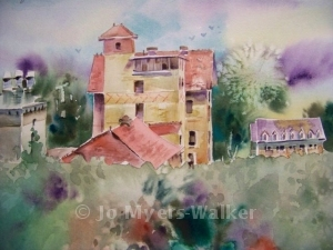 Seashore Hall at University of Iowa, watercolor painting by Jo Myers-Walker