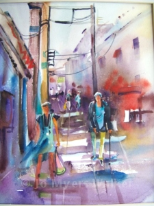 Alley en route to frozen yogurt shop, watercolor painting by Jo Myers-Walker