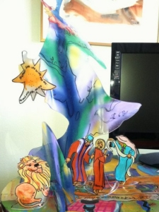 Slumped-acrylic Christmas tree and Nativity scene