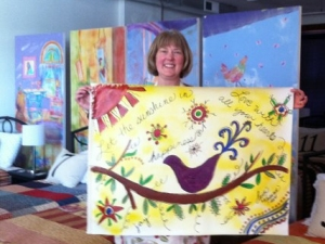 Heidi's floorcloth at Hen & Chicks workshop