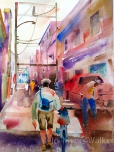 Watercolor painting of Iowa City alleyway by Jo Myers-Walker
