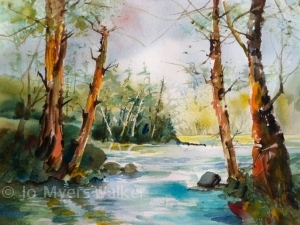 Finished watercolor painting of Iowa River scene by Jo Myers-Walker