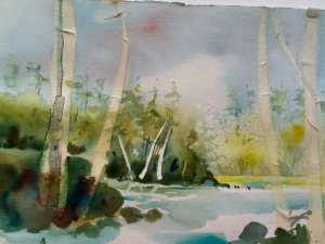 In-progress watercolor painting of the Iowa River at Iowa City by Jo Myers-Walker