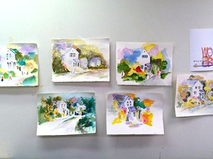 Paintings by watercolor class at The Center