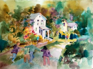 Watercolor painting of neighborhood scene by Jo Myers-Walker