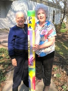 Peace Pole decorated by Linda White and Jo Myers-Walker