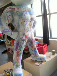 Herky on Parade 2 statue painted by Jo Myers-Walker, shown in progress