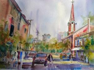 Watercolor painting of Linn St. in Iowa City, by Jo Myers-Walker