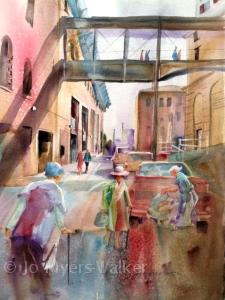 Watercolor painting of Iowa City alleyway by Jo Myers-Walker