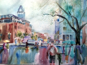 Completed watercolor painting of Linn Street by Jo Myers-Walker