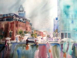 Partially completed watercolor painting of Linn St. in the rain by Jo Myers-Walker