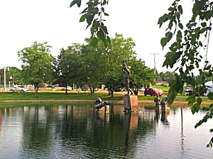 Sculptures at the Fisher Community Center in Marshalltown