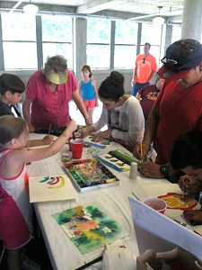 Watercolor painting demonstration at the 2014 Iowa State Fair