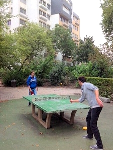 Outdoor ping pong in a Rouen park