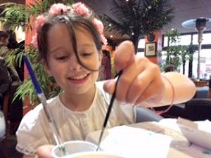 Zoe adds to the Rouen sketchbook