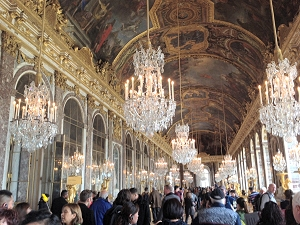 Chandeliers and painted ceiling in the Hall of Mirrors
