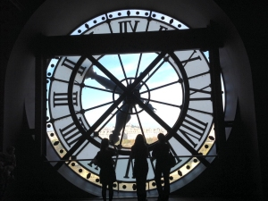 Viewing Paris through glass clock face at Musée d'Orsay