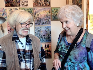 Artist Francis Caudron pictured in his studio with Jo Myers-Walker