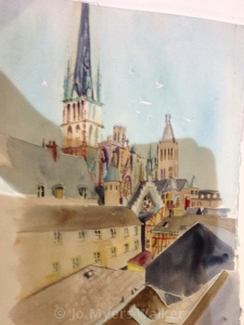 Watercolor painting of Rouen rooftops by Jo Myers-Walker