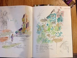 Pages in Jo Myers-Walker's Rouen sketchbook