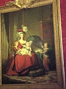 Portrait of Queen Marie Antoinette and her children, on display at Palace of Versailles