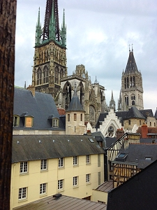 View of rooftops and cathedral spires in Rouen