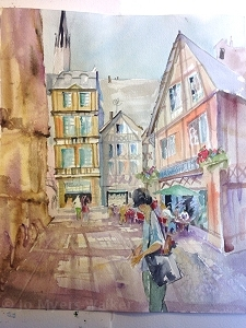 Painting of Rue Martainville, Rouen