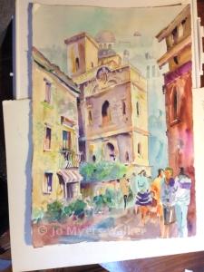 Side street in Rouen painted by Jo Myers-Walker