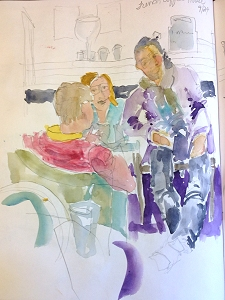 Sketch of people in French Coffee Shop, Rouen