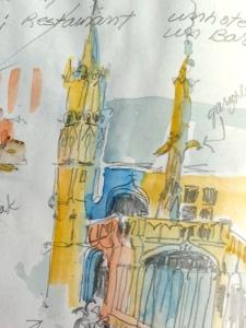 Sketch of Palais de Justice, Rouen