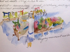 Sketch of table at Rouen market